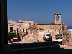 PESCHICI castle ruins pan Stock Footage