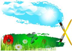 flowers on the field - stock illustration