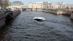 Pleasure boat on Moika river, Saint-Petersburg, Russia Stock Footage