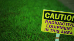 Radioactive equipment area sign 1 dolly Stock Footage