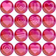 Buttons, valentine heart, set Stock Illustration