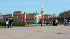 View at Mikhailovsky Castle from Mars field, Saint-Petersburg, Russia Stock Footage