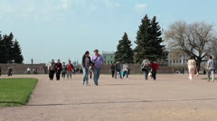 People walking around on the Field of Mars in Saint Petersburg, Russia Stock Footage