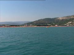 PESCHICI beach camera boat Stock Footage