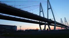 Stock Video Footage of White nights in Saint-Petersburg, Russia. The Big Obukhovsky Bridge