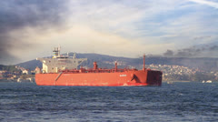 Crude oil tanker cruising along Bosporus Sea Stock Footage