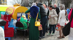 Kvass street vendor in Sergiev Posad, Russia Stock Footage