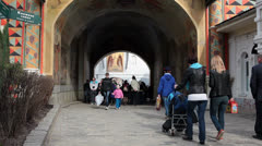 Visitors entering St. Sergius Lavra during the Easter, Sergiev Posad, Russia Stock Footage