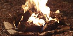 Camp Fire | Medium Close Up - stock footage
