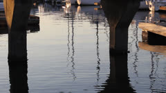 Reflection Under Pier at Dusk Stock Footage