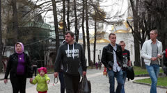 People walking during Easter day in Cathedral, Sergiev Posad, Russia Stock Footage