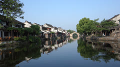 Chinese ancient water town, Xitang Stock Footage
