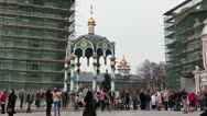 Queue to the holy source of water. Sergiev Posad, Russia Stock Footage