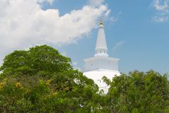 white sacred stupa, anuradhapura, sri lanka - stock photo