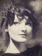 Lite sepia colorized vintage female portrait with beauty bokeh Stock Photos