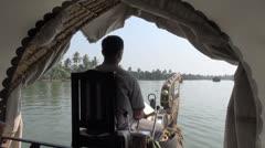 Kerala backwaters boatman s Stock Footage