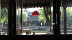 Chinese wooden window and ancient town Stock Footage