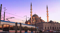 Yeni Mosque at evening pray Stock Footage
