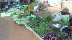 India village market with green beans Stock Footage