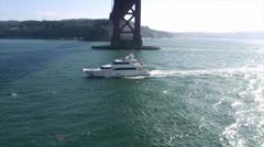 Luxury Mega Yacht - Aerial Heli Footage Stock Footage