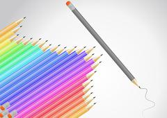 set of color pencil - stock illustration