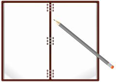 notebook pencil - stock illustration