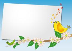 Sheet with bird song Stock Illustration