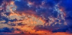 Sunset or sunrise with clouds panorama Stock Photos