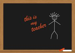my teacher in chalkboard - stock illustration