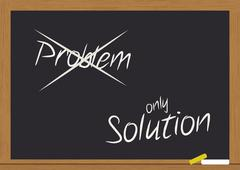 problem and solution on chalkboard - stock illustration