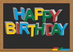 happy birthday chalkboard - stock illustration