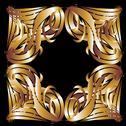 Tribal design gold frame vector art Stock Illustration