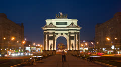 Triumphal arch at night in Moscow Stock Footage