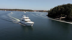 Aerial Heli Shot of Yacht Cruising on a Sunny Day - stock footage