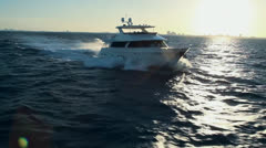 High Speed Yacht Cruising - Aerial Heli Footage Stock Footage