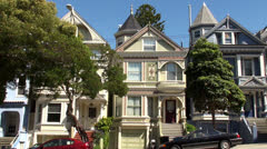 San Francisco's Painted Ladies houses at the Haight-Ashbury district. Stock Footage