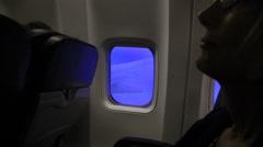 Sleeping woman passenger - stock footage