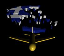 plane taking off from greece map flag illustration - stock illustration
