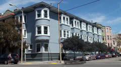 San Francisco's Painted Ladies houses at the Haight-Ashbury district. - stock footage