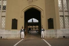 Military Barracks with Cadets on Guard - stock photo