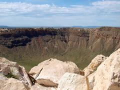 Meteor crater - stock photo