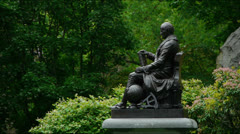 Bronze Statue Nathaniel Bowditch Stock Footage