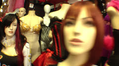 Sexy Clothing Mannequins with Wigs - stock footage