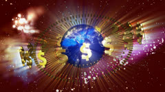 Earth with Golden Dollar Symbols Stock Footage