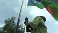 Stock Video Footage of Lowering Flag at a School in South Sudan