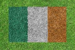 flag republic of ireland as a painting on green grass - stock illustration