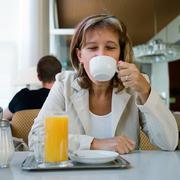 Enjoying a cup of coffee Stock Photos