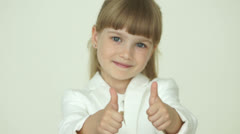 Little business woman with ok hands sign Stock Footage