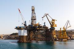 Oil platform, repair in the harbor Stock Photos