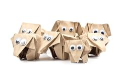 origami elephants recycle paper - stock photo